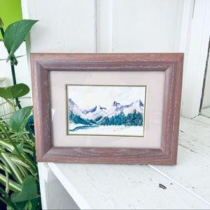 Mountain Scene Wood Framed Painting Print Art